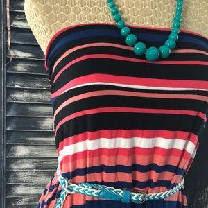 Stripped Maxi Skirt / Strapless Dress Merona